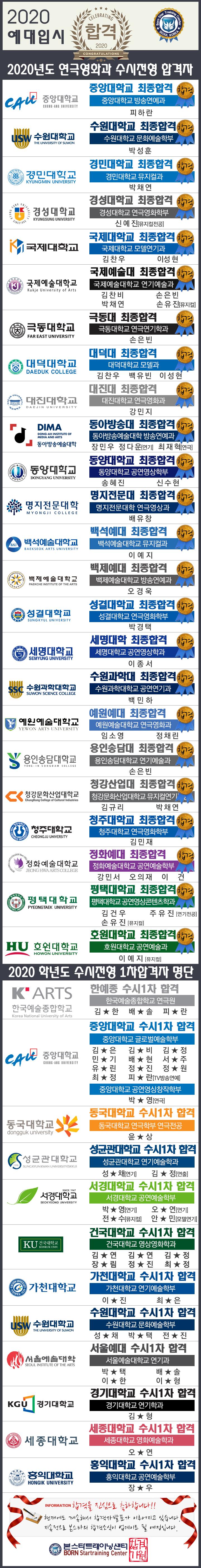 본스타 입시학부 합격 수강생 명단2020